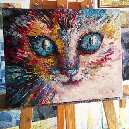 картина маслом с котом