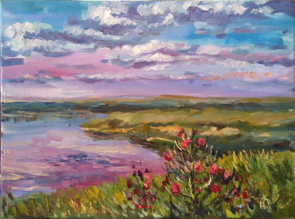 Пейзаж. Река Пичуга. Волгоград. Картина маслом