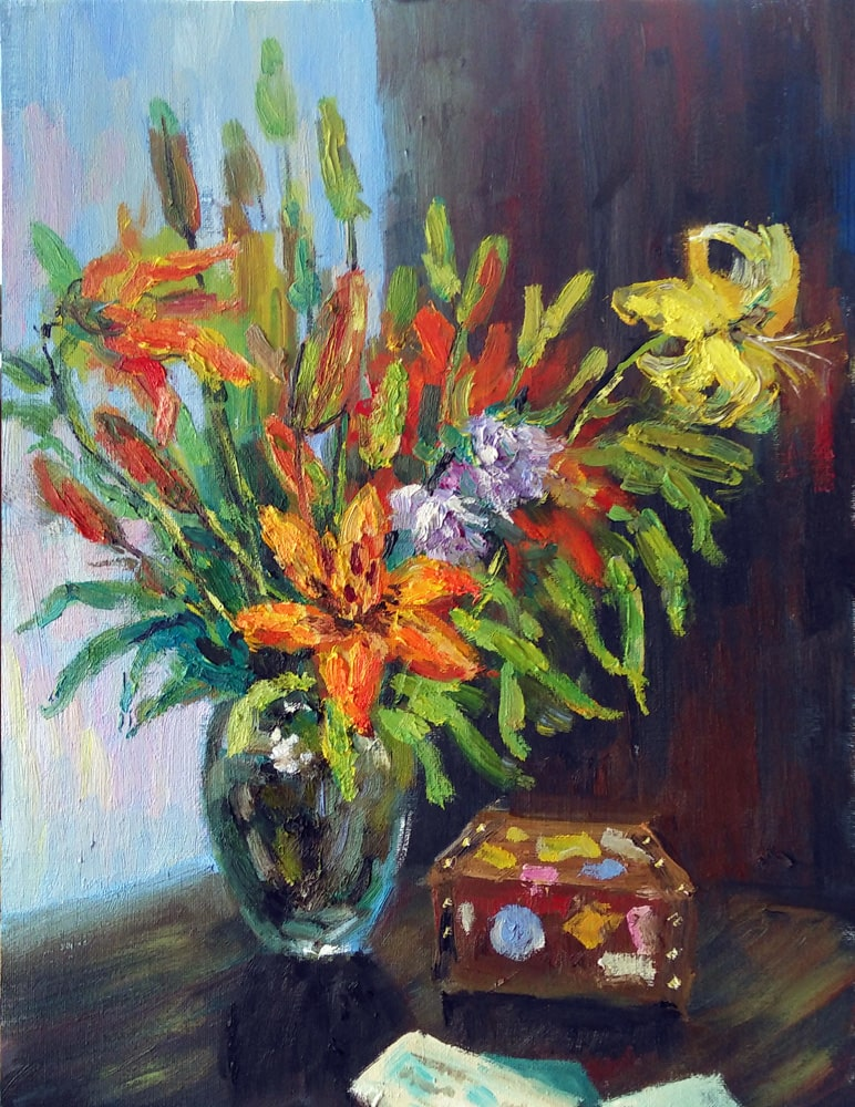 Картина Букет из цветов и тигровых лилий