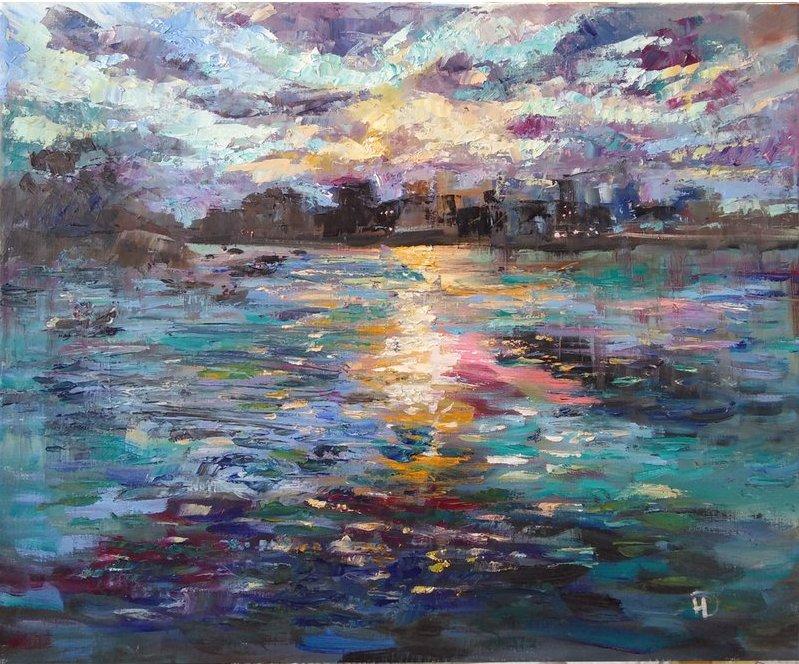 Вечер на озере картина маслом