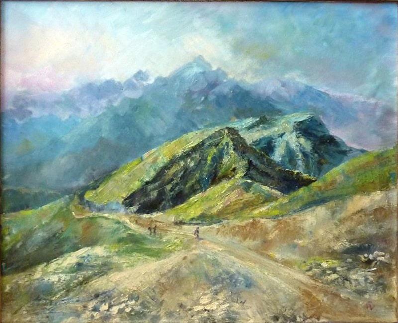 """картина маслом """"Прогулка по горам"""" пейзаж в горах на Красной поляне"""