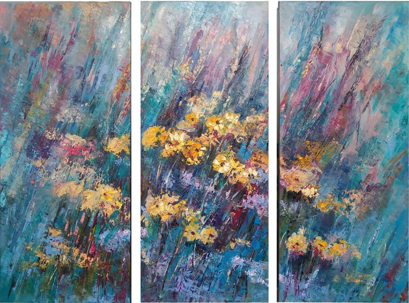 """Модульная картина маслом """"Цветочный ковёр"""" Изображение на картине сравнимо с музыкальной композицией, кульминацией которой стали жёлтые яркие цветы."""