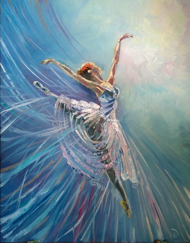 """Картина маслом """"Балерина"""" легкая, парящая в свободном полете балерина, вскинула руки вверх"""