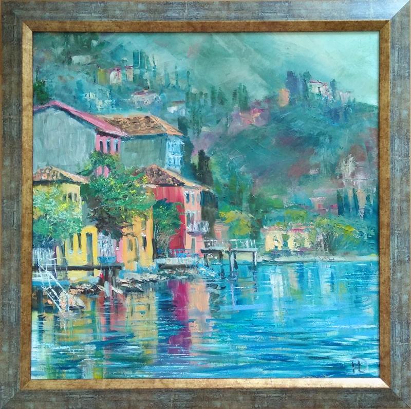 """Картина """"Озеро в горах"""" в раме"""