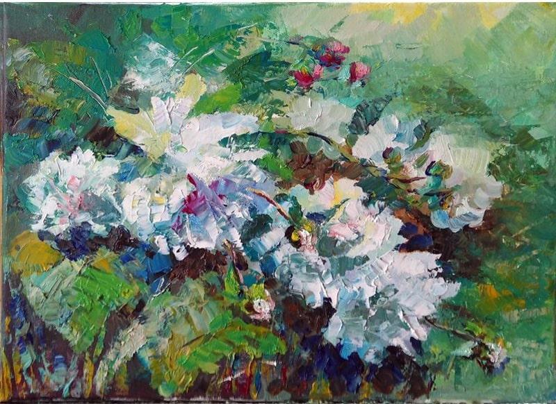 """Картина маслом """"Белые пионы"""" на холсте раскидистый куст с цветами"""