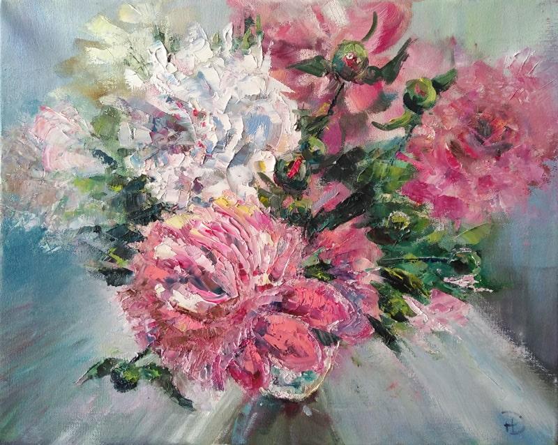 """Картина маслом """"Букет пионов"""" ароматные весенние цветы в прозрачной вазе"""