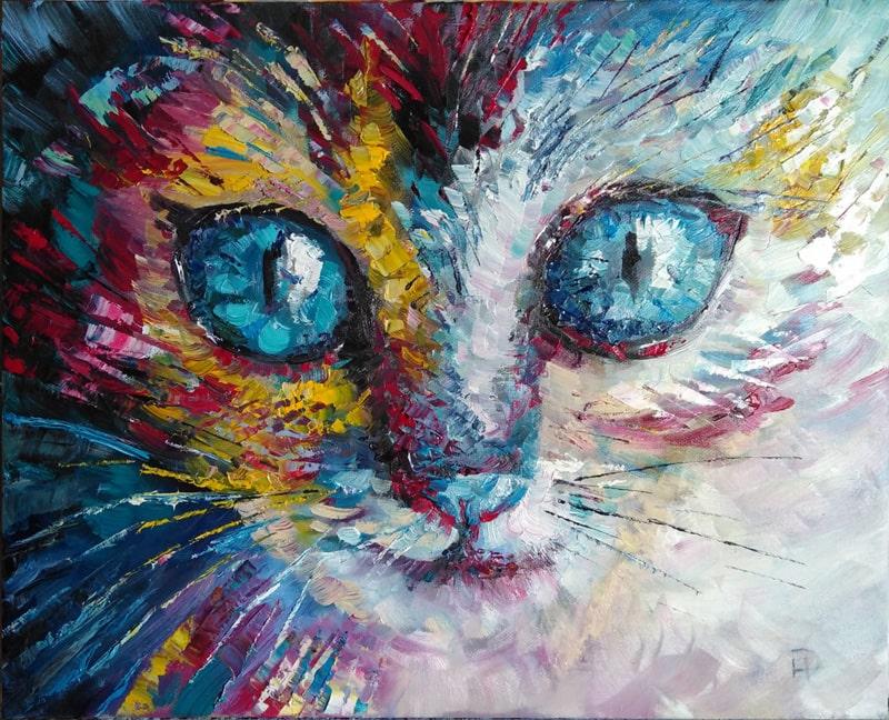 """Картина на холсте """"Кот"""" маленький котёнок с большими голубыми глазами завораживает своей непосредственностью"""