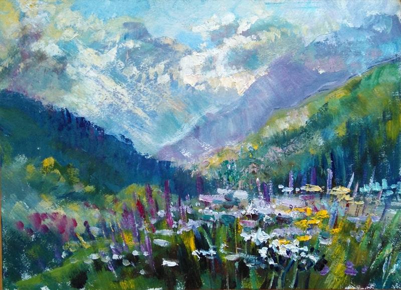 """Картина """"Цветы в горах"""" живописный этюд, написанный на восходе солнца в ущелье."""