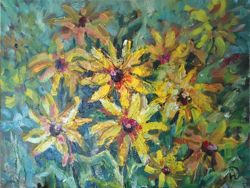 """""""Этюд  дачный"""" как маленькие солнышки написаны цветы рудбекия"""