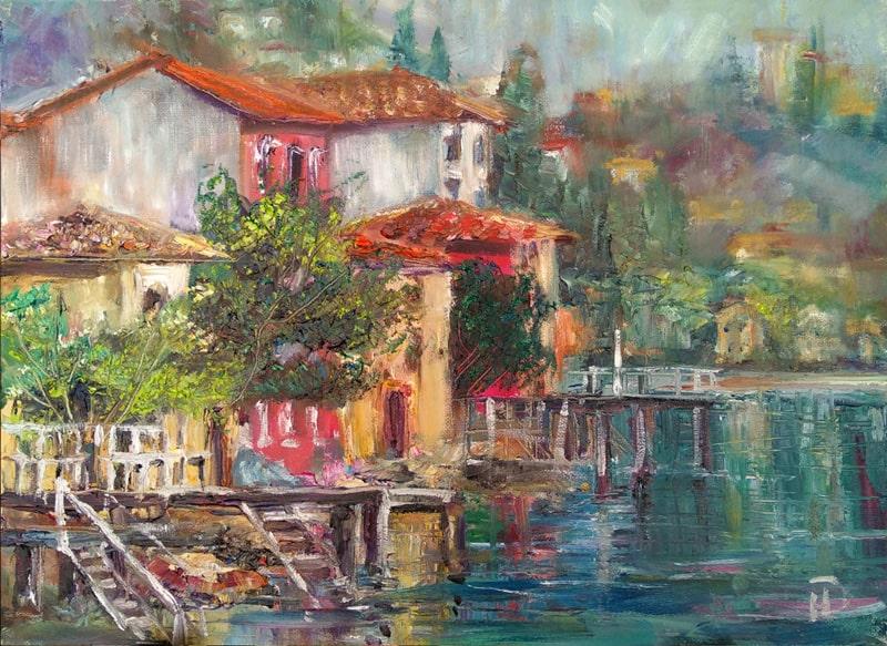 """Картина маслом """"Белые лесенки"""" живописное озеро в горах Италии"""