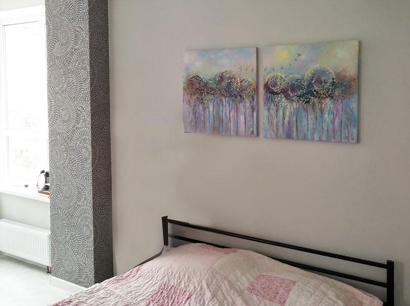 """Картина """"Деревья-одуванчики"""" в интерьере"""