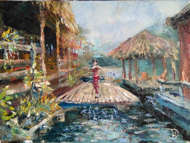 """Картина маслом """"Экзотика""""  на холсте живописный пейзаж Таиланда"""