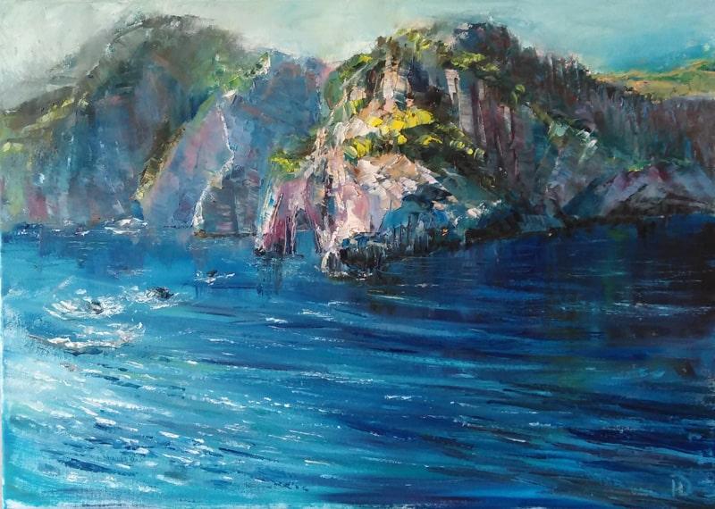 """Картина маслом """"Пора на море"""" синее море, скалистые берега"""