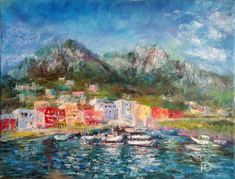 """Картина маслом """"Итальянский курорт"""" живописное побережье с морским курортом, расположенным у подножья гор"""