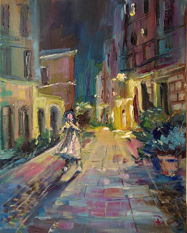 """Картина """"Итальянская улочка"""" в городе Кальяре Поздний вечер, светятся одинокие окна"""