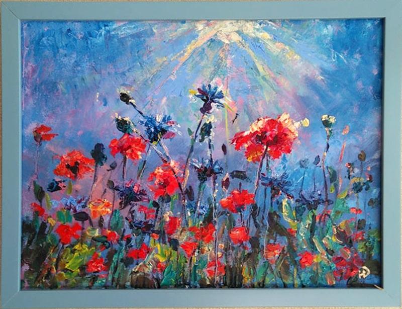"""Картина """" Красно-синее поле"""" в раме"""