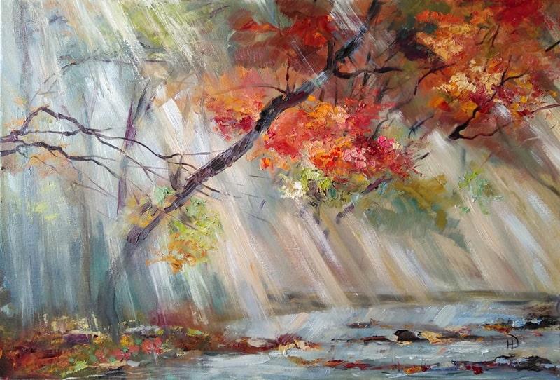 """Картина маслом """"Осенний свет"""""""