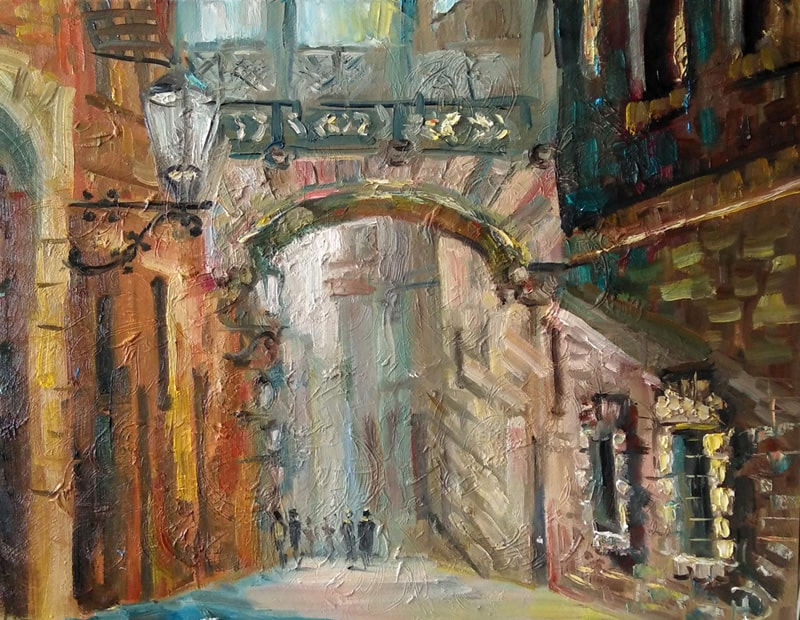 """Картина маслом """"На итальянской улочке"""" Солнечный летний день, лучи солнца проникают через арку на узкую улочку, заливая солнцем дома и улицу"""