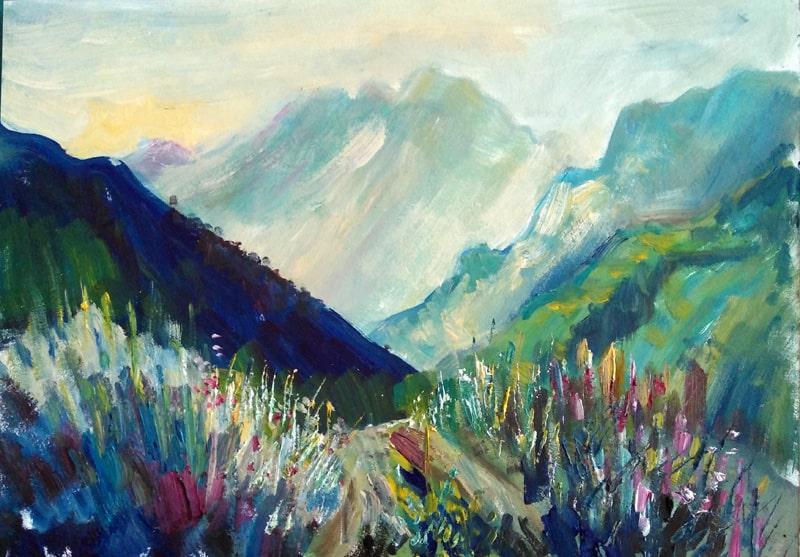 """Картина маслом """"Рассвет в горах"""" пейзаж, написанный в Приэльбрусье"""