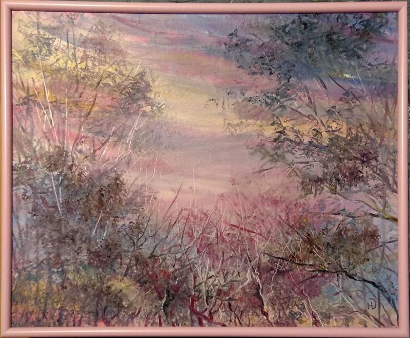 """Картина   """"Розовое утро"""" через причудливое переплетение ветвей деревьев виден загадочный розовый рассвет"""