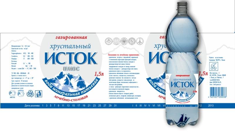 """Дизайн этикетки на бутылку с лечебно-столовой водой """"Исток"""""""
