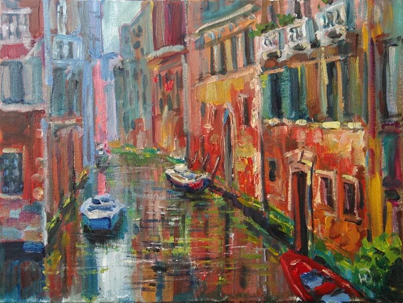 """Картина маслом """"Улица Венеции"""" Живописный канал  с окружающими жилыми постройками"""