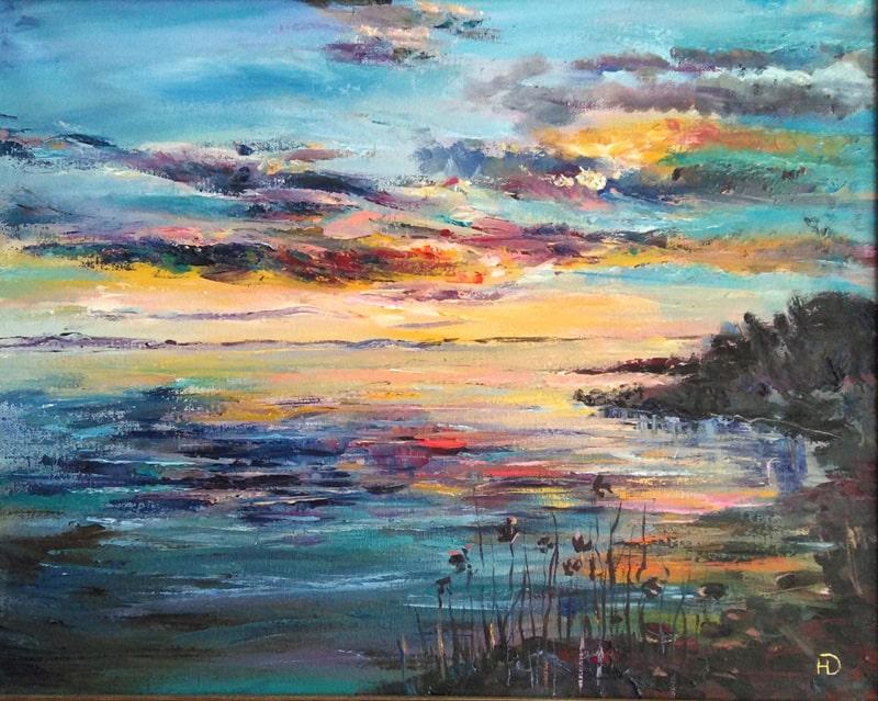 """Картина маслом """"Закат у реки"""" на берегу у реки природа окрасила вечер в яркие краски заката"""