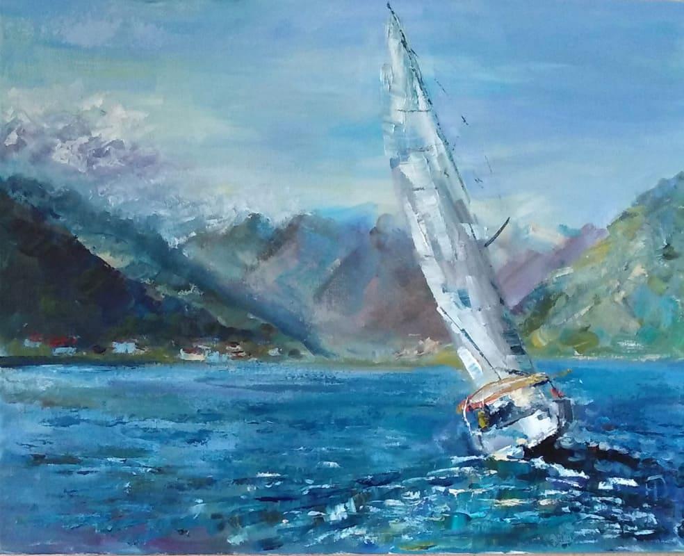 """Картина маслом """"Одинокий парусник"""" Морской пейзаж в Боко-Которском заливе Яхта накренившись в повороте направляется к берегу"""