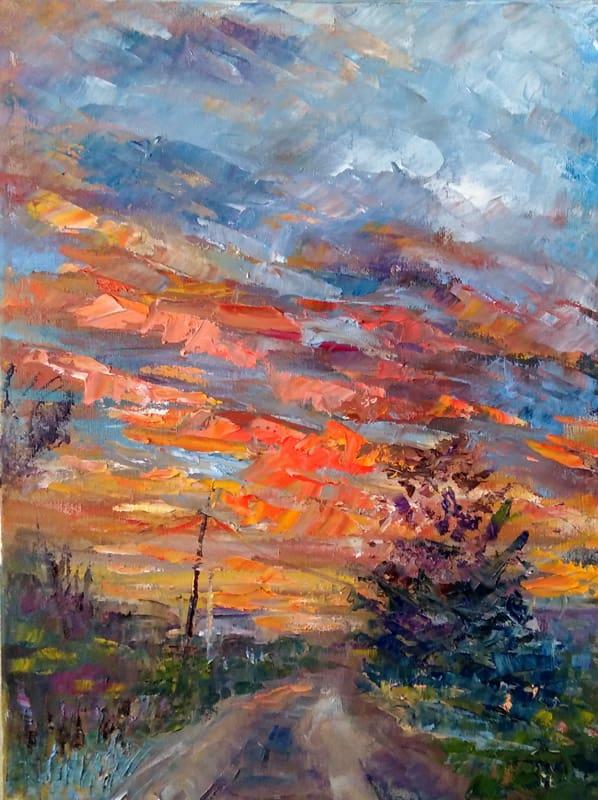 """Изображение на картине """"Дачный закат"""" .Художница Нина Дивинская."""