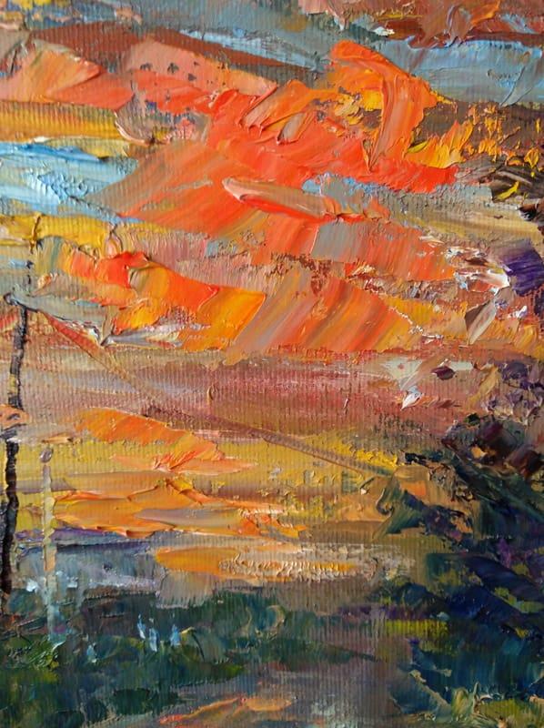 """Увеличенный фрагмент картины """"Дачный закат"""""""