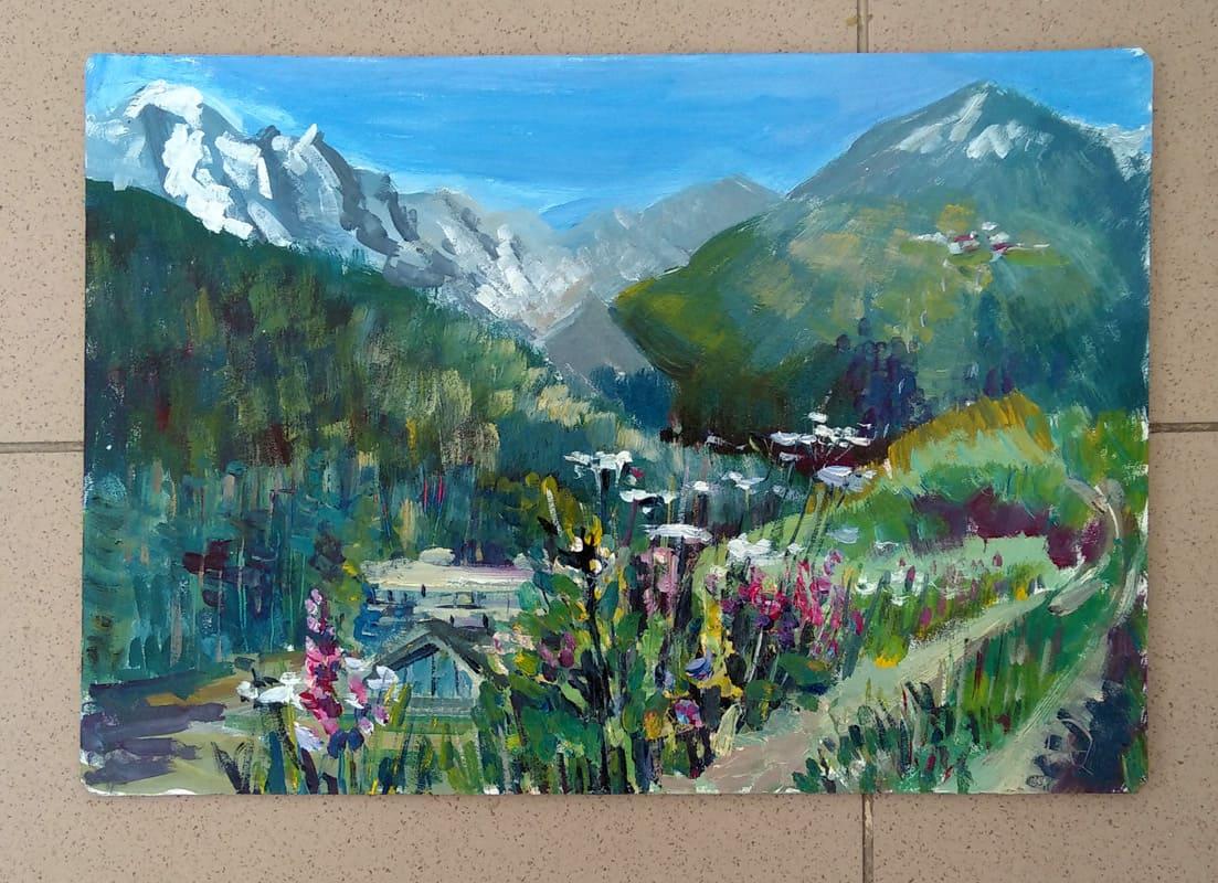 """Картина маслом """"Гостиница в ущелье"""" пейзаж с видом на горную базу """"Иткол"""" в Приэльбрусье"""