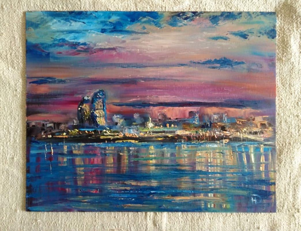"""Картина маслом """"Вечерний Волгоград"""" река, с отражением ярких огней вечернего города"""