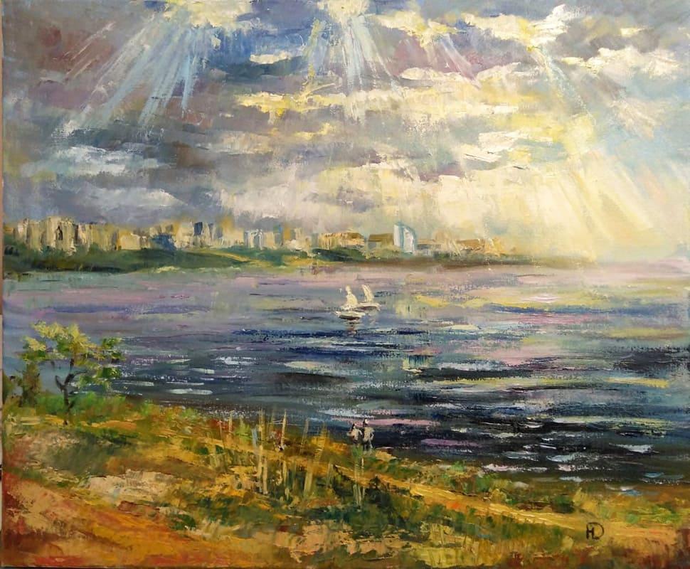 """Картина маслом на холсте """"Волга в лучах солнца"""""""